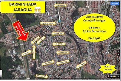 Mapa com os bares visitados. Foto: acervo Barminhada