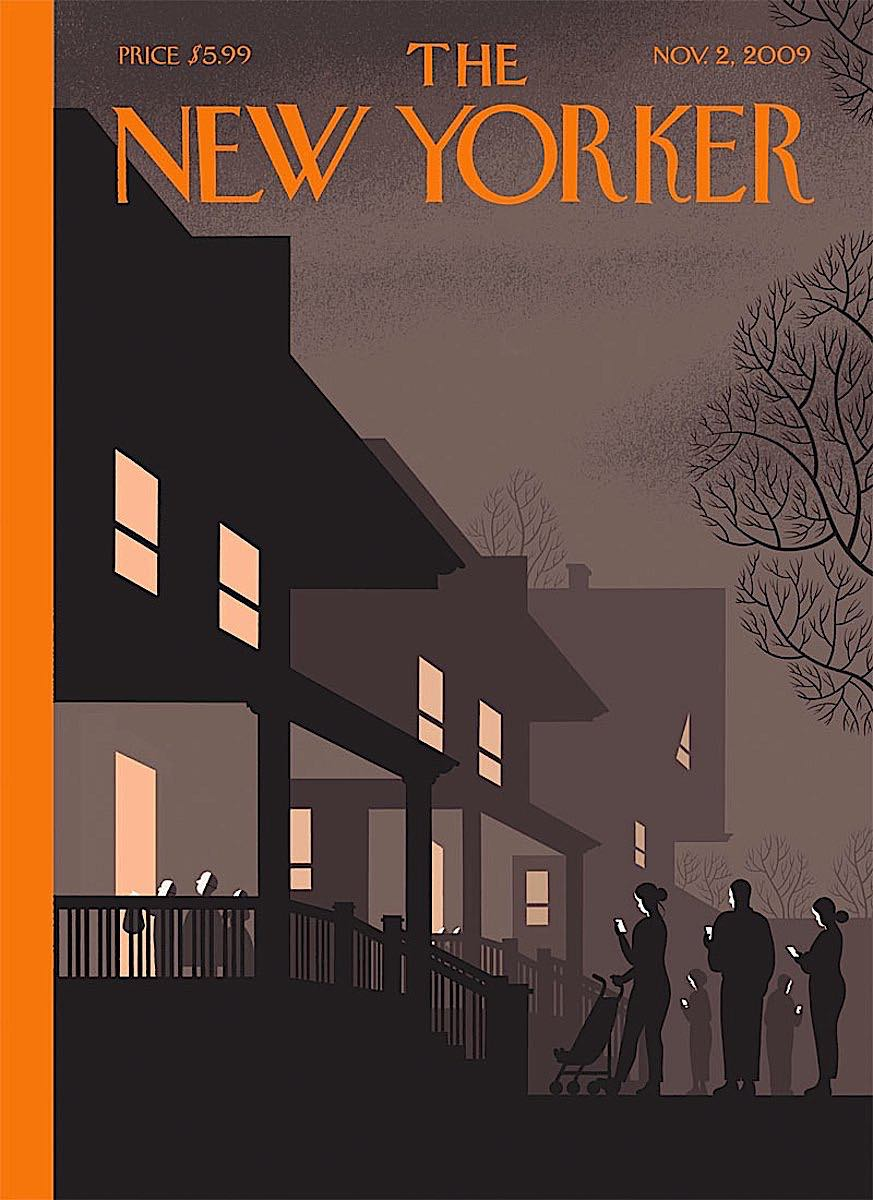 a Chris Ware illustration for The New Yorker, of children gathering candy on Halloween while parents watch their device screens