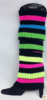 Neon Rainbow Striped 80s Leg Warmers