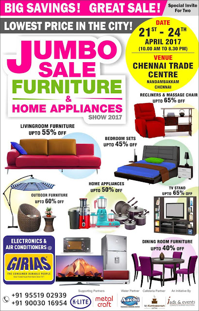 Jumbo Sale Furniture Home Appliances Chennai Upto April 24 2017 Myreality In Real Estate