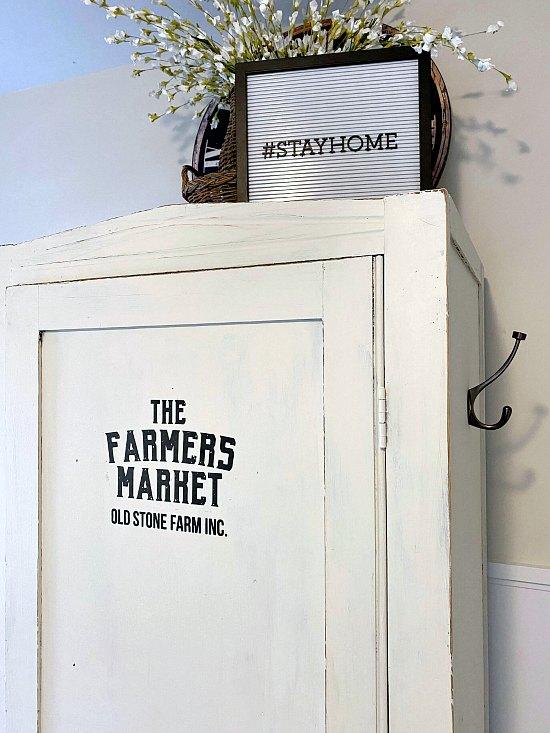 Farmhouse cupboard with Farmer's Market Transfer