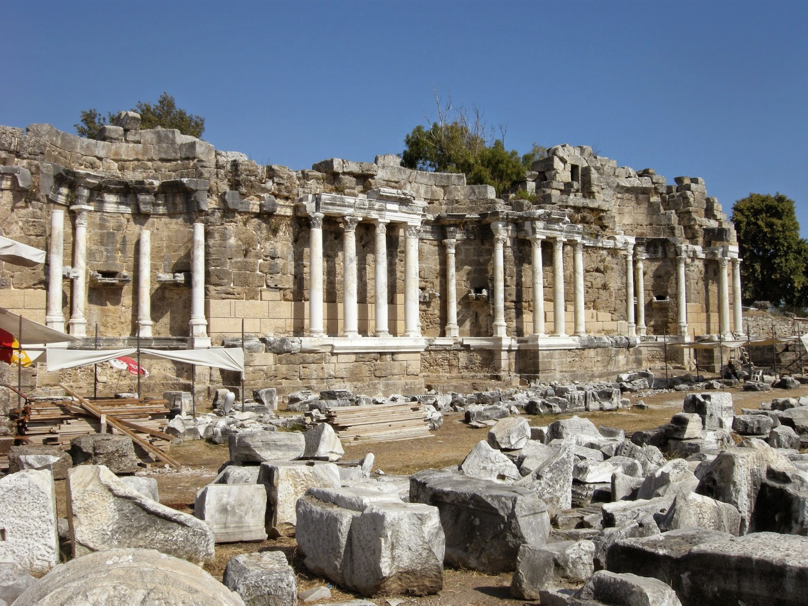 Nymphaion in ancient city of Side undergoing restoration