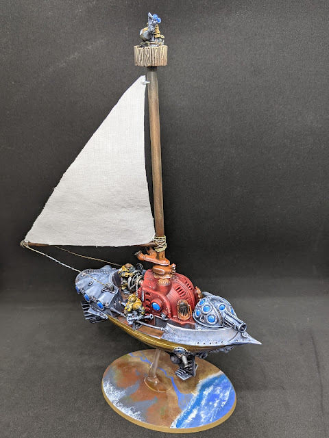Fully assembled and painted frigate