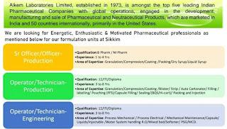 12th Pass/ ITI/ Diploma/ B Pharm/M Pharm Job Vacancy Walk In Interview For Alkem Laboratories Limited units at Sikkim