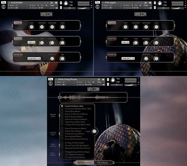 Interface da Library Esraj & Erhu - Ethnic String Phrases - Sonuscore (KONTAKT)