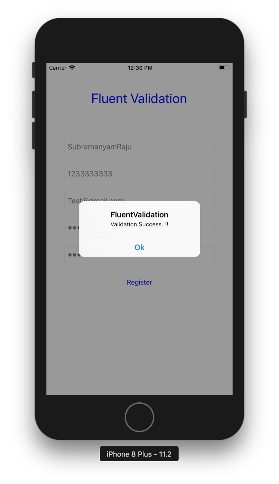 Fluent Validation: How to validate Registration Page fields in