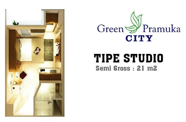 Unit Kamar Apartemen Green Pramuka City