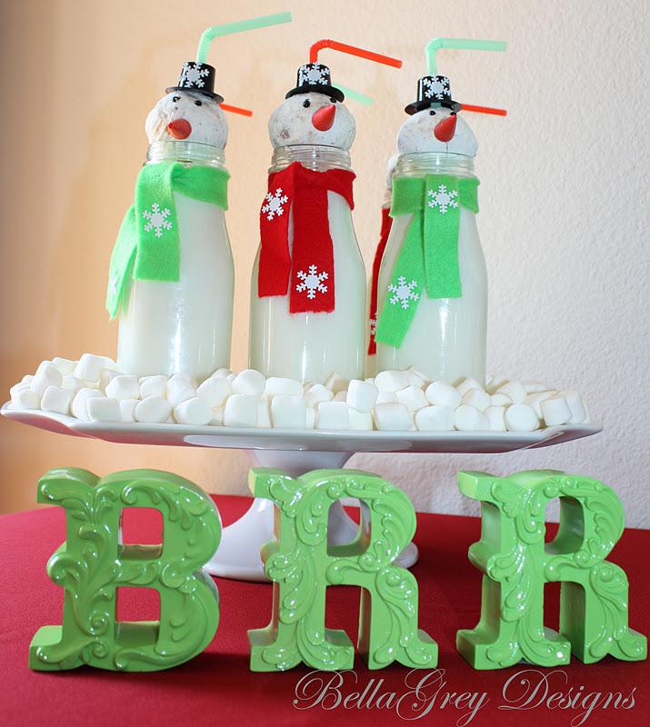 BellaGrey Designs Tutorial Glass Bottle Snowmen Best Milk Bottle Decorating Ideas