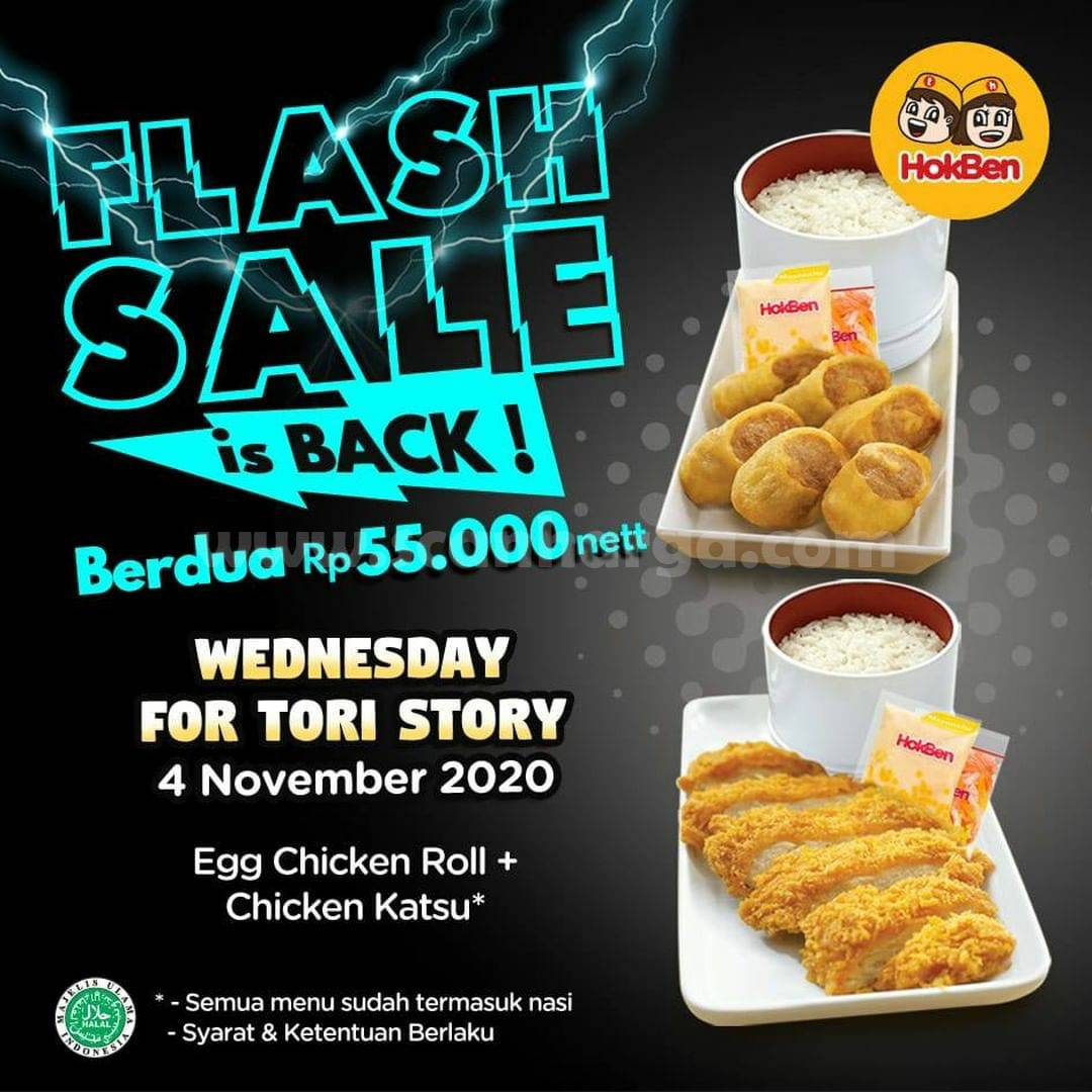 HOKBEN Flash Sale Rabu - Egg Chicken Roll + Chicken Katsu cuma Rp 55.000 nett Berdua