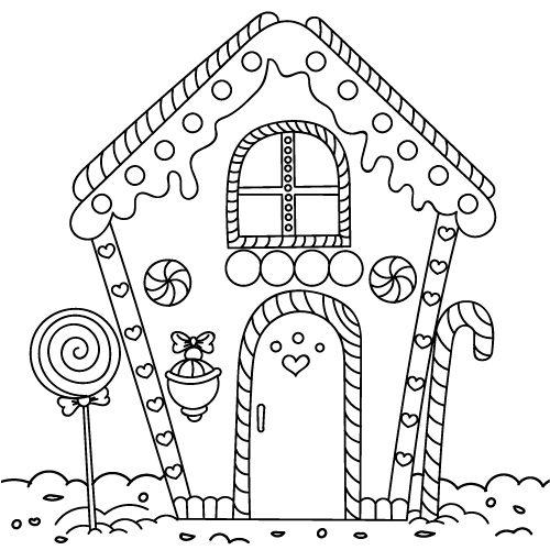 Tranh tô màu ngôi nhà bánh kẹo 3
