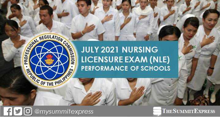 PERFORMANCE OF SCHOOLS: July 2021 NLE nursing board exam