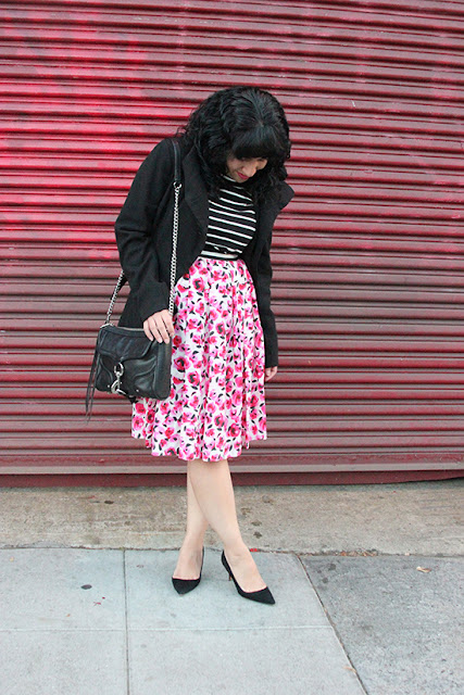 Will Bake for Shoes | Steve Madden Coat and Kate Spade Stripe Shirt and Rose Print Skirt Outfit