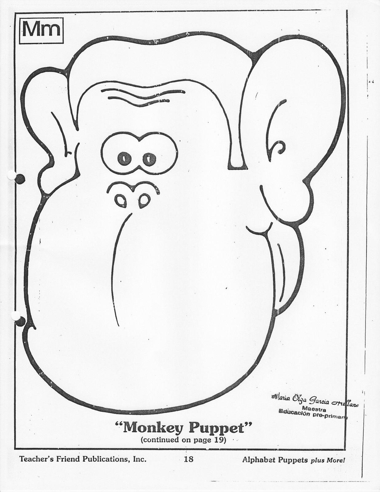Fichas De Ingles Para Ninos Monkey Puppet