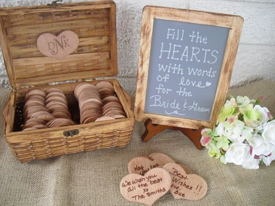 wood box vintage fall wedding guest book ideas