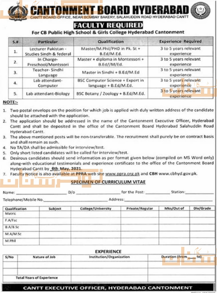 private,cb public high school & girls college hyderabad cantonment,lecturer, incharge, teacher, lab attendant,latest jobs,last date,requirements,application form,how to apply, jobs 2021,