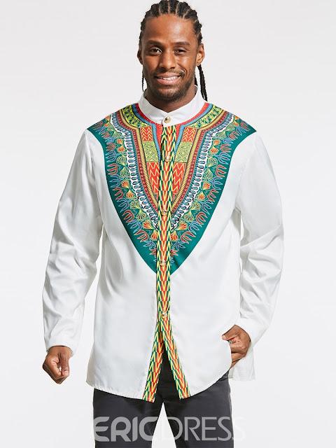 Ericdress Dashiki African Print Slim Fit Men's Shirt