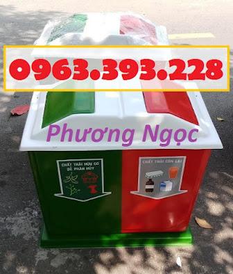 Thùng rác nhựa composite, thùng rác 2 ngăn, thùng phân loại rác TR2N5