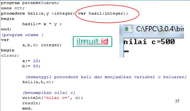 Program Pascal Parameter output /Keluaran