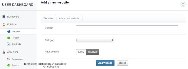 Cara Memasang iklan (kode) PopCash Ke Blog