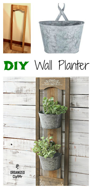 Rustic DIY Wall Planter Inside or Out #weatheredwood #stencil #galvanized