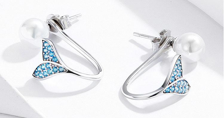 夢幻人魚擬珍珠 925純銀耳環