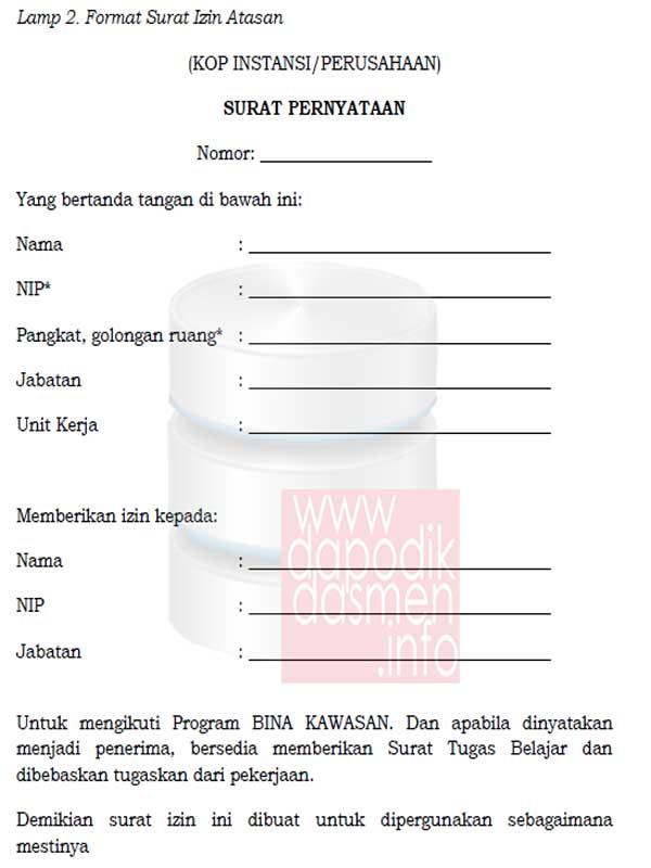Formulir Surat Izin Atasan Peserta Program Bina Kawasan