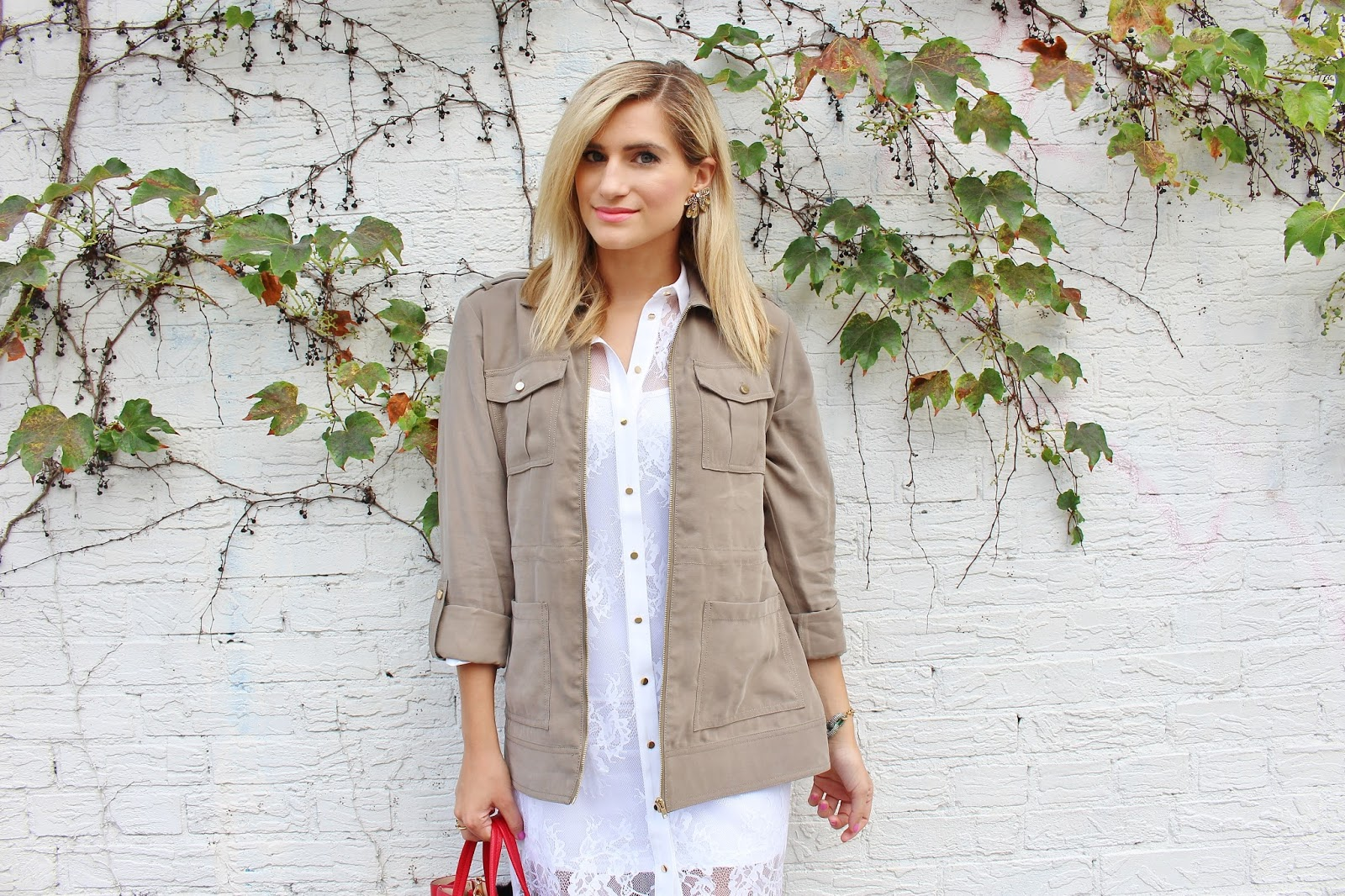 bijuleni- GUESS Military jacket and lace button down dress