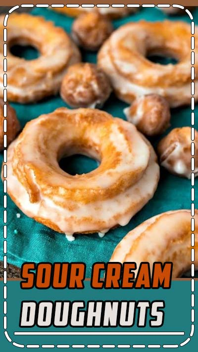 Sour Cream Doughnuts – Dense and crispy on the outside, moist and cakey on the inside, these sour cream doughnuts are your favorite cake doughnuts that are ready in half the time as yeast doughnuts! #recipe #doughnuts #donuts #dessert #breakfast #brunch