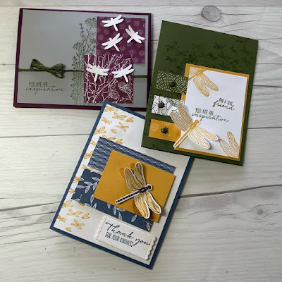 Three Dragonfly handmade cards using Stampin' Up! Garden Wishes Bundle