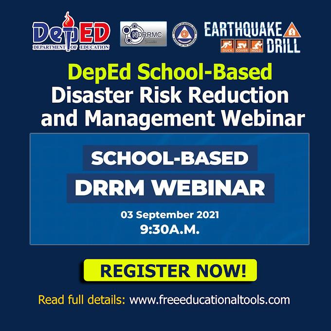 DepEd Free School-Based DRRM Webinar for Teachers | September 3 | REGISTER NOW!