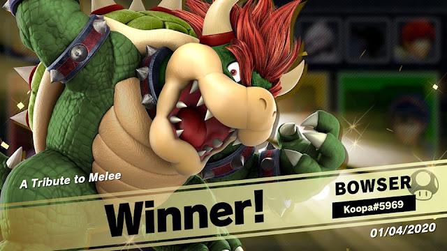 Super Smash Bros. Ultimate A Tribute to Melee event online tourney Bowser wins victory screen