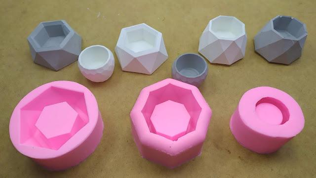 قوالب سيليكون إبداعية للاسمنت + فكرة مشروع - Silicone Mold Creative Geometric Polygonal Concrete