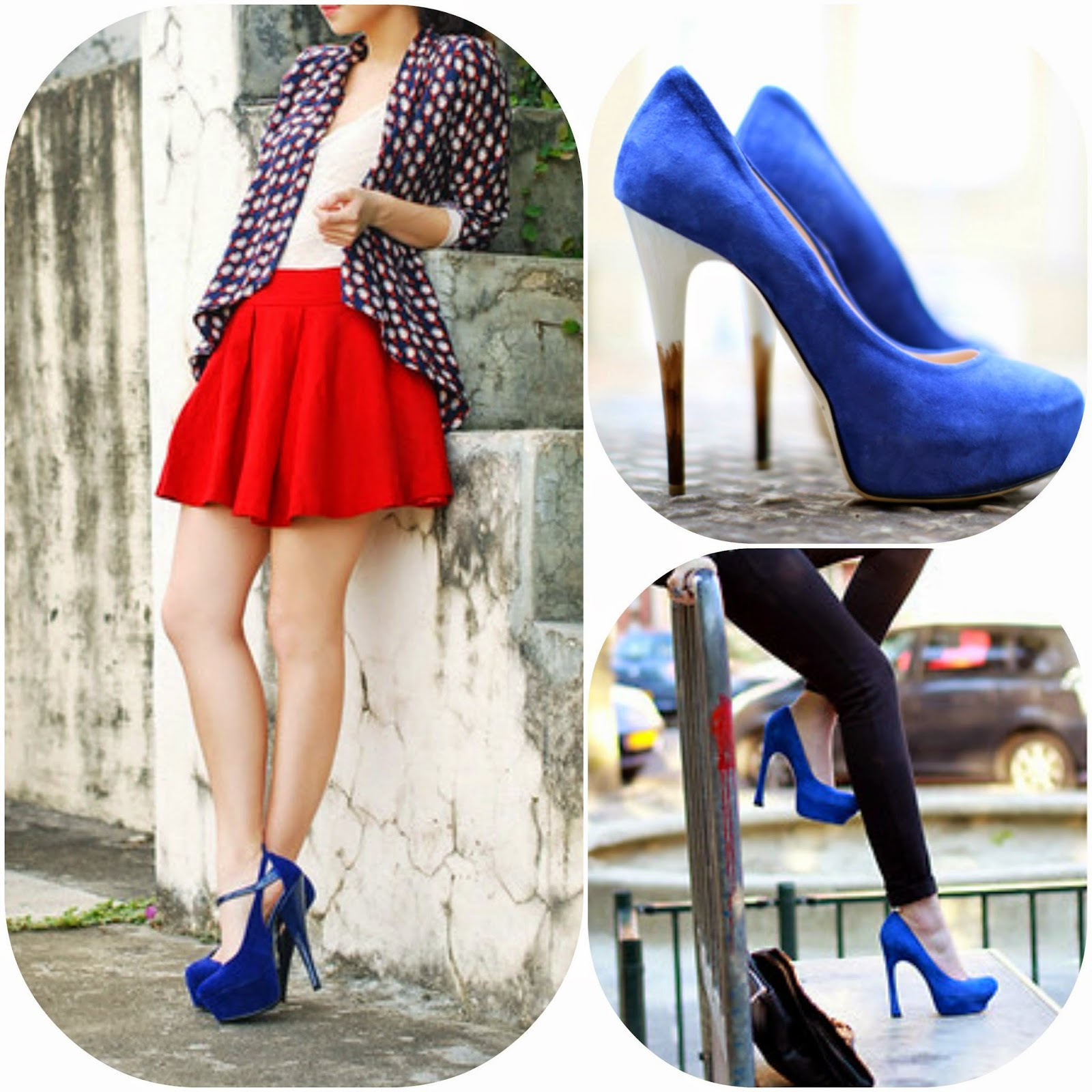 How to wear blue stilleto, how to style blue heels, blue fashion style