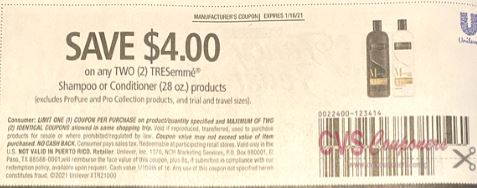 TRESemmé $4/2 Shampoo or Conditioner Products