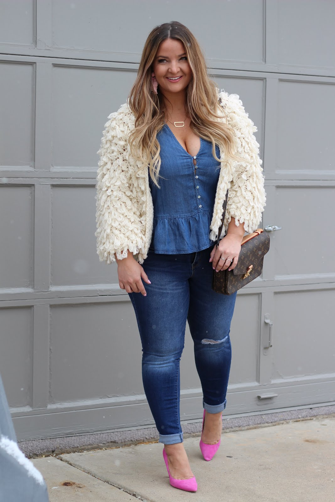Monochromatic denim outfit by popular Denver fashion blogger Delayna Denaye