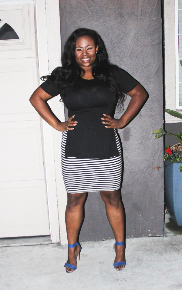 Nicki-minaj-open-side-black-top, navy-and-white-striped-pencil-skirt, blue-strappy-heels, plus-size-blogger, body-positive, lifestyle-blog, black-blogger