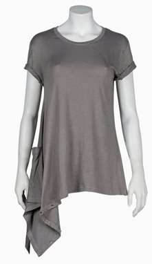 Asymmetric Short Sleeve Tee with side pocket
