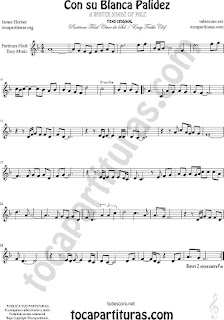 Flauta Fácil Partitura de Con Su Blanca Palidez Sheet Music for Flute and Recorder Music Scores