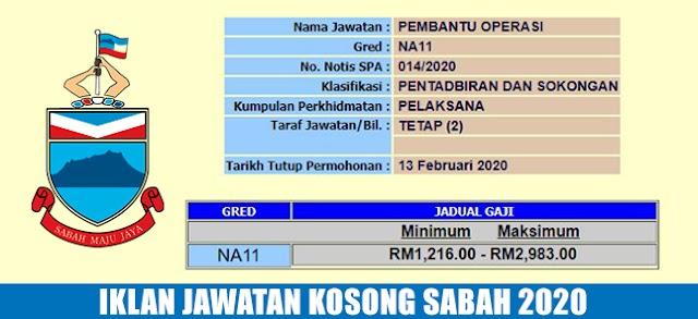 Jawatan Kosong Pembantu Operasi di Negeri Sabah