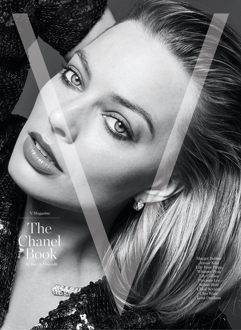 Margot Robbie on V Magazine: The Chanel Book Cover. Photo: Inez & Vinoodh / Images Courtesy of V Magazine