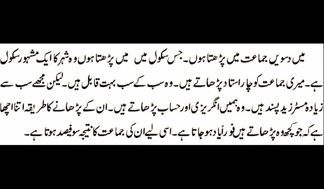 essays in urdu for class 10th result