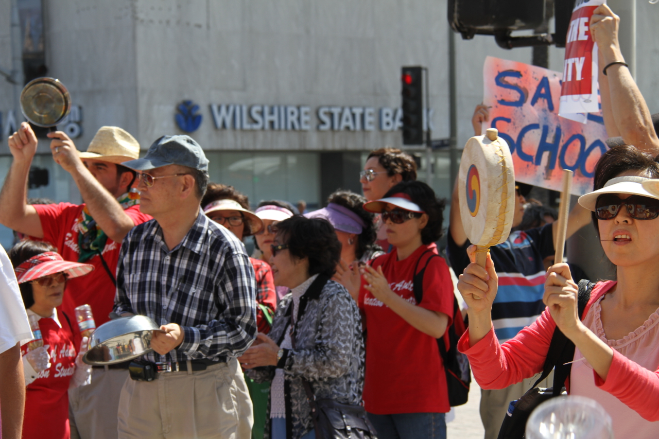 Save Public Schools! Adult Education Students protest school privatizer Monica Garcia in Koreatown after she voted to shut down all adult schools and use the money for privately managed charters.