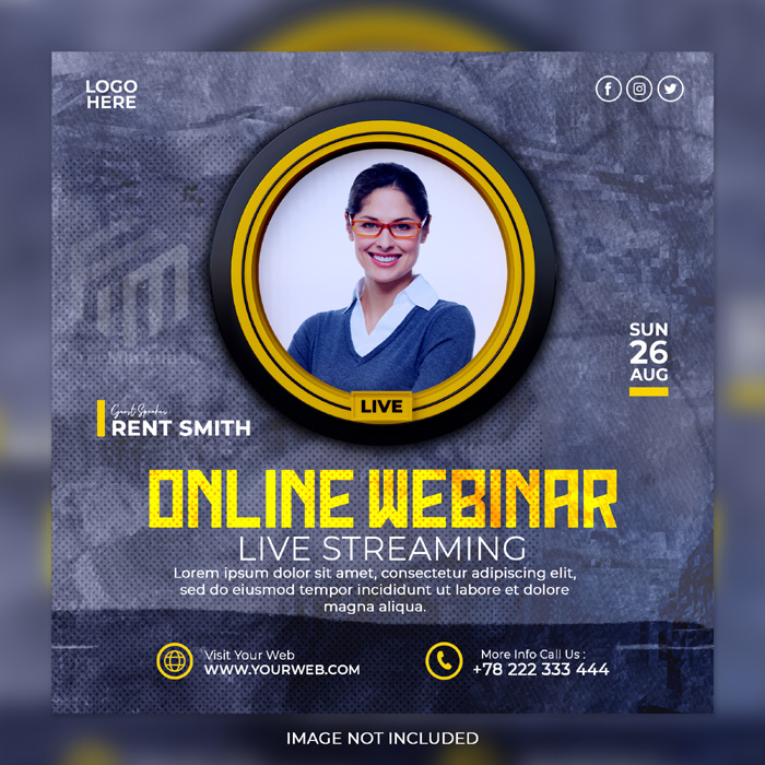 Live Streaming Workshop Marketing Agency Corporate Social Media Post Template 5