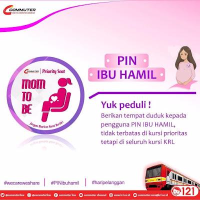 Pin prioritas ibu hamil untuk pengguna KRL Commuter Line. Persyaratan dan cara mendaftarnya serta lokasi daftarnya.