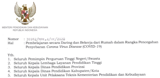 Surat Edaran Mendikbud Nomor 36962/MPK.A/HK/2020 Tentang Pembelajaran Daring/Online dan Bekerja Dari Rumah/BDR dalam Rangka Pencegahan Penyebaran Virus Corona COVID-19