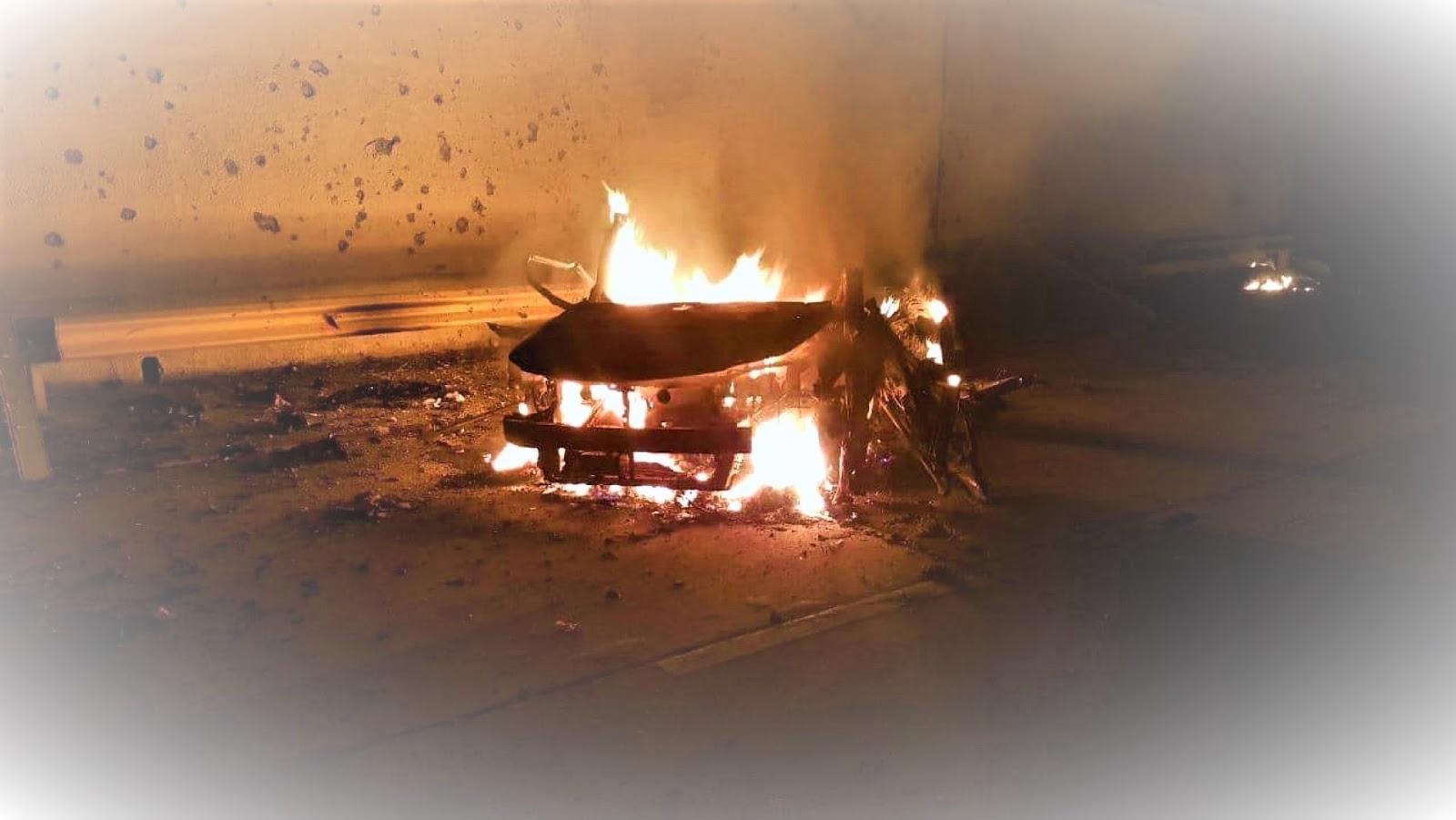 The car that Qassem Soleimani was riding.