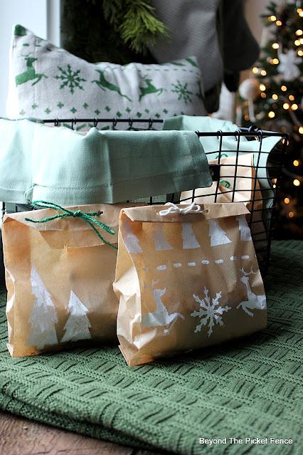 Stencil Brown Bags