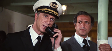 Leslie Nielsen in ship's captain uniform