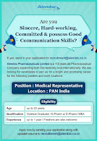 B.Sc / B.Pharm/ D.Pharm/ MBA  Fresher And Experience  in Alembic Pharmaceuticals Limited