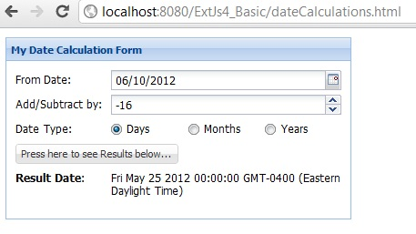 ExtJs date manipulation Add and Subtract